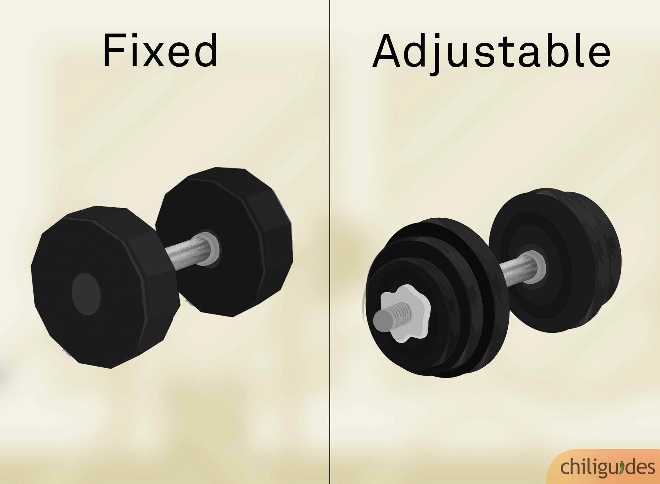 Fixed dumbbells vs. Adjustable dumbbells.