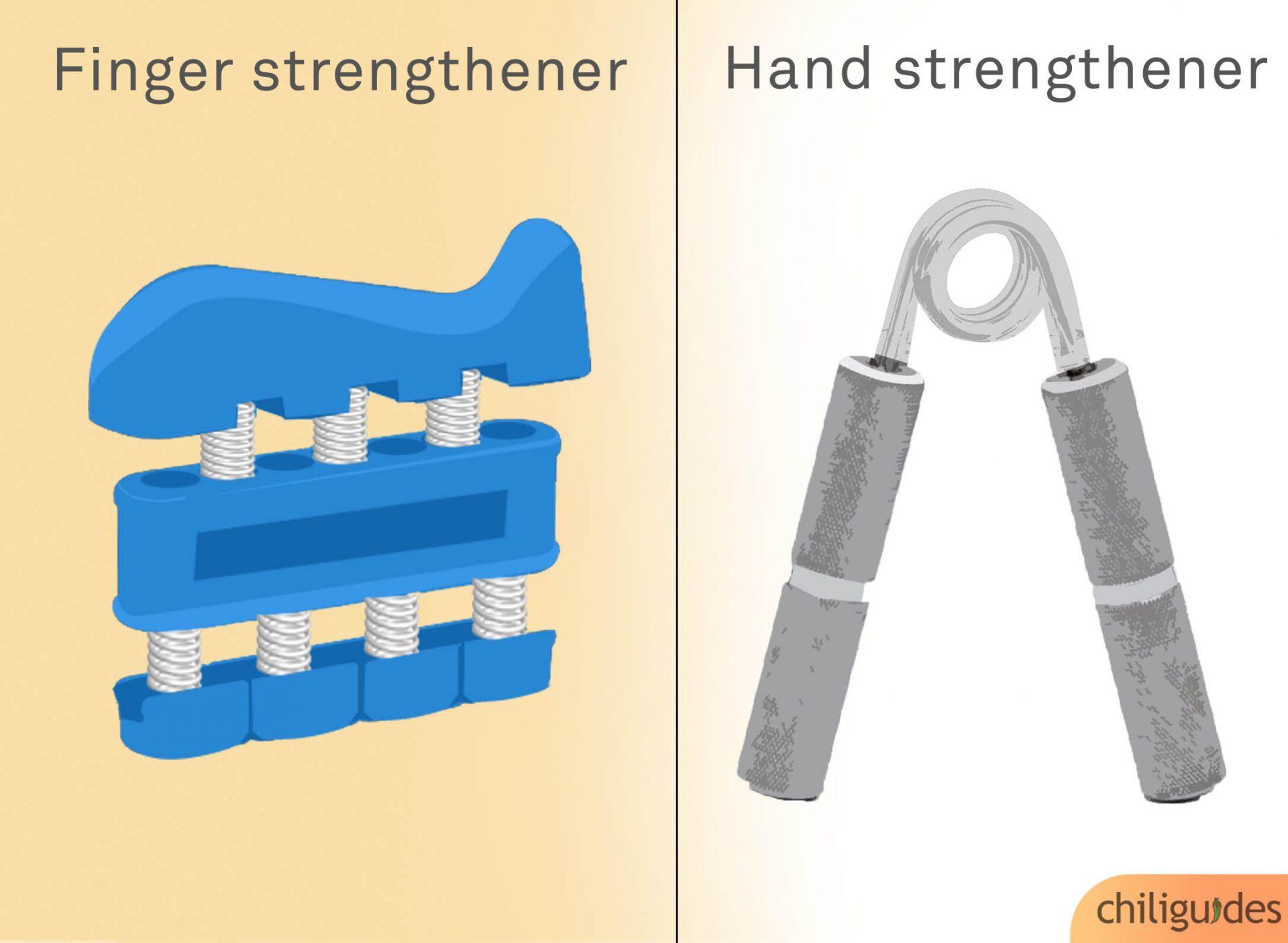 <p><b>Hand strengthener vs. Finger strengthener</b></p>
