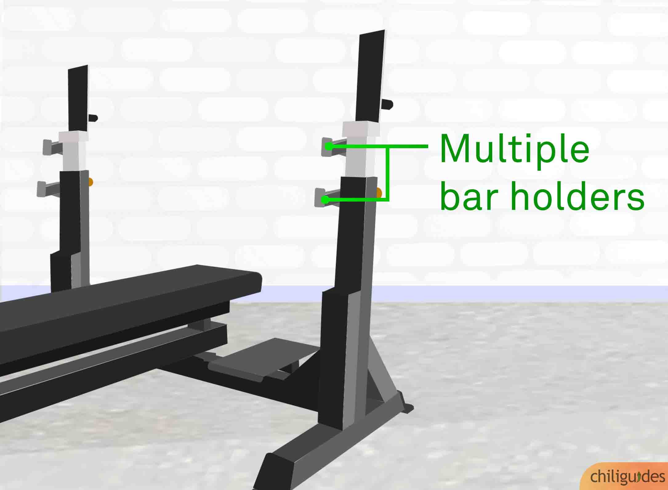<p><b>Multiple bar holders will make it easier to un-rack the bar.</b></p>