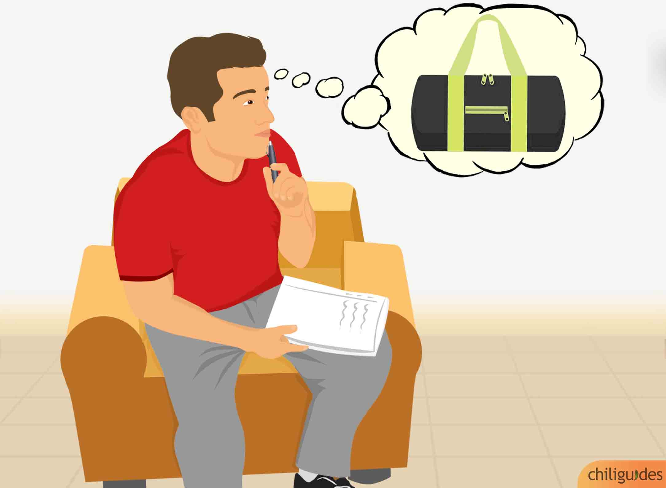 <p><b>List the items you need to carry to decide the bag's size.</b></p>