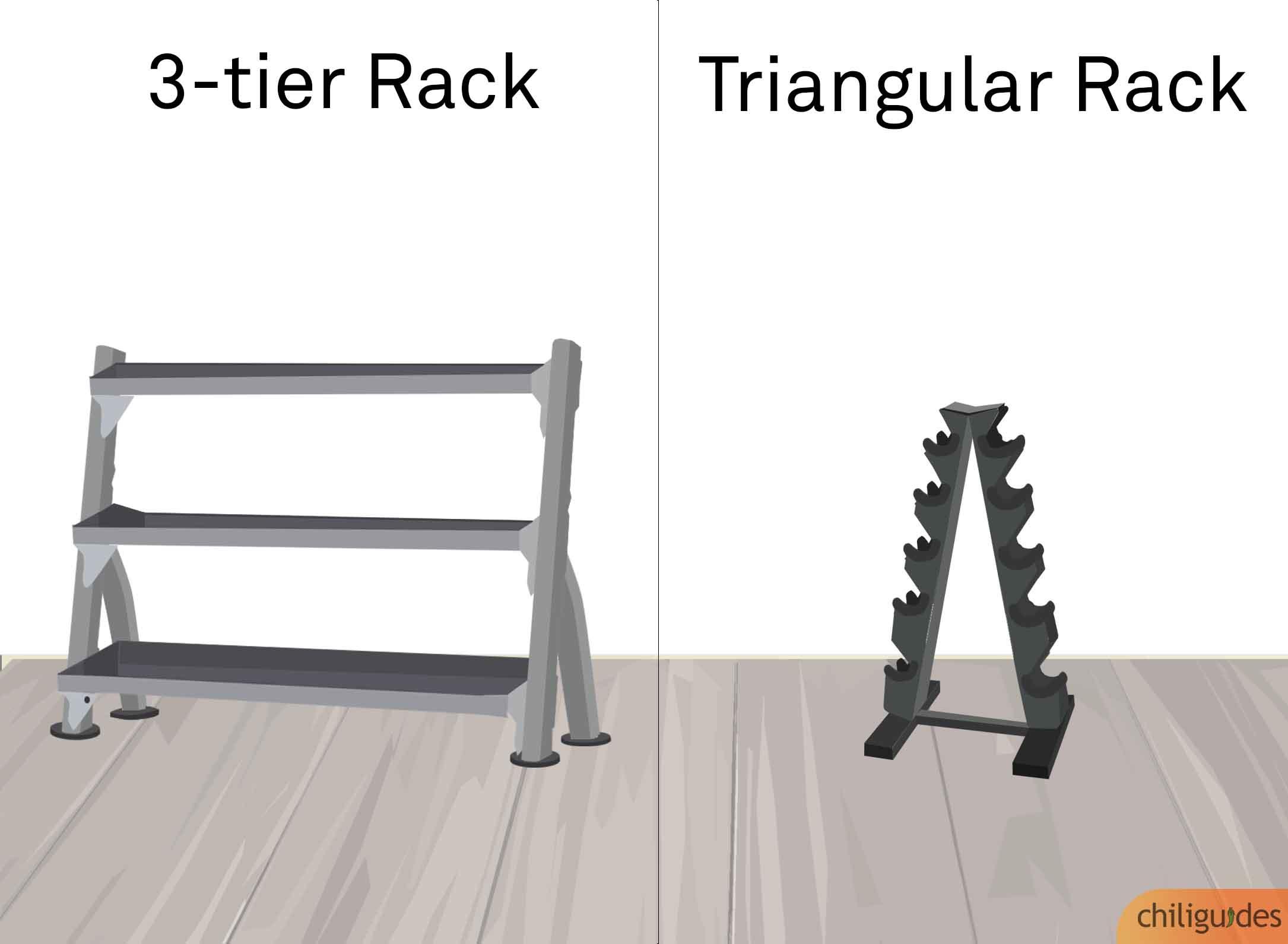 <p><b>3 Tier Rack vs. Triangular Rack</b></p>