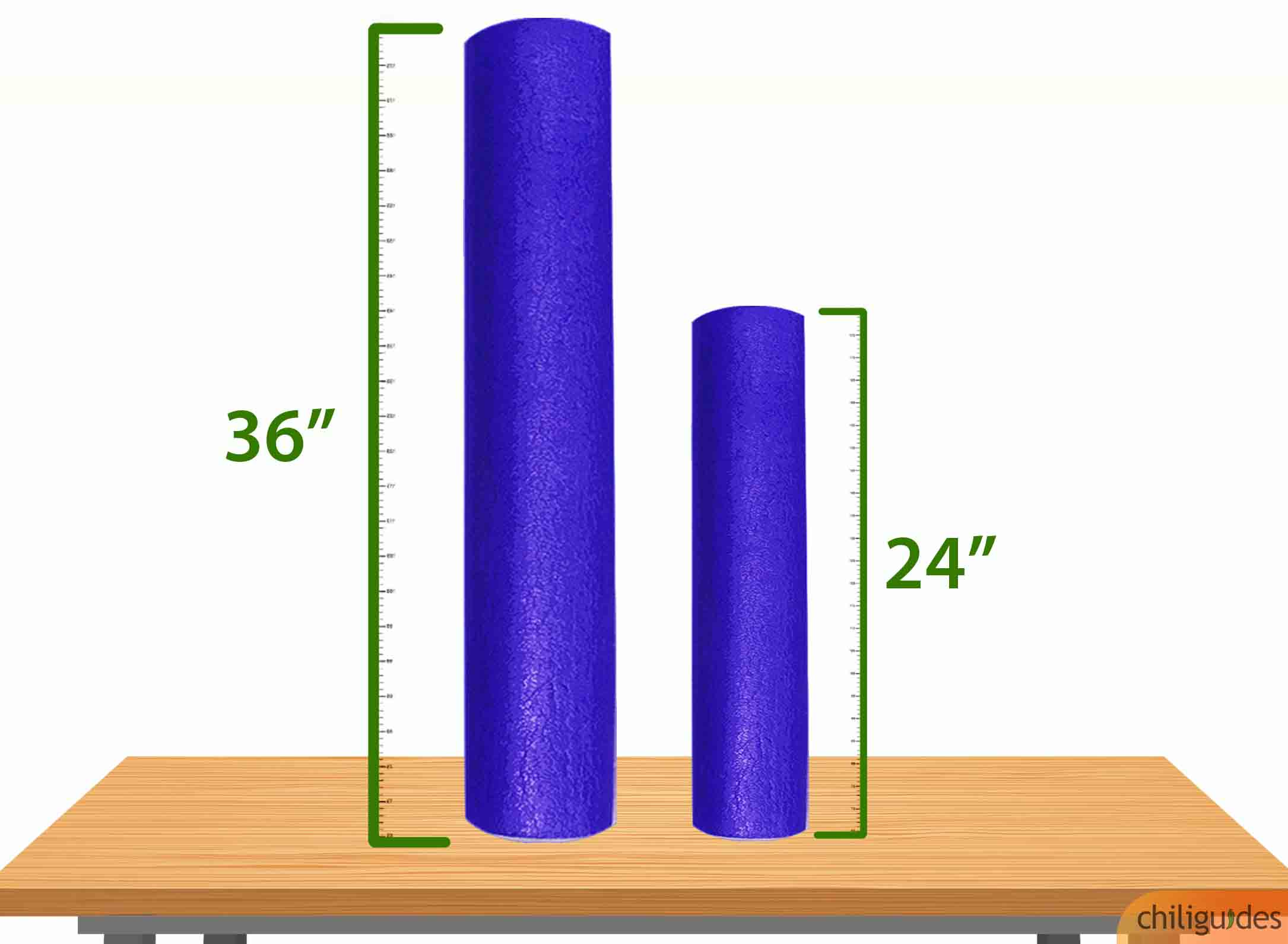 "<p><b>Use a 36"" foam roller for your back and 24"" roller for your arms or legs.</b></p>"