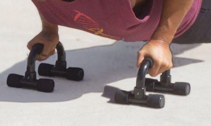 GPB- Push-ups using push-up bars 1. Push-up bars types 2. Man using sturdy push up bars 3. Push up bars with cushioned handles