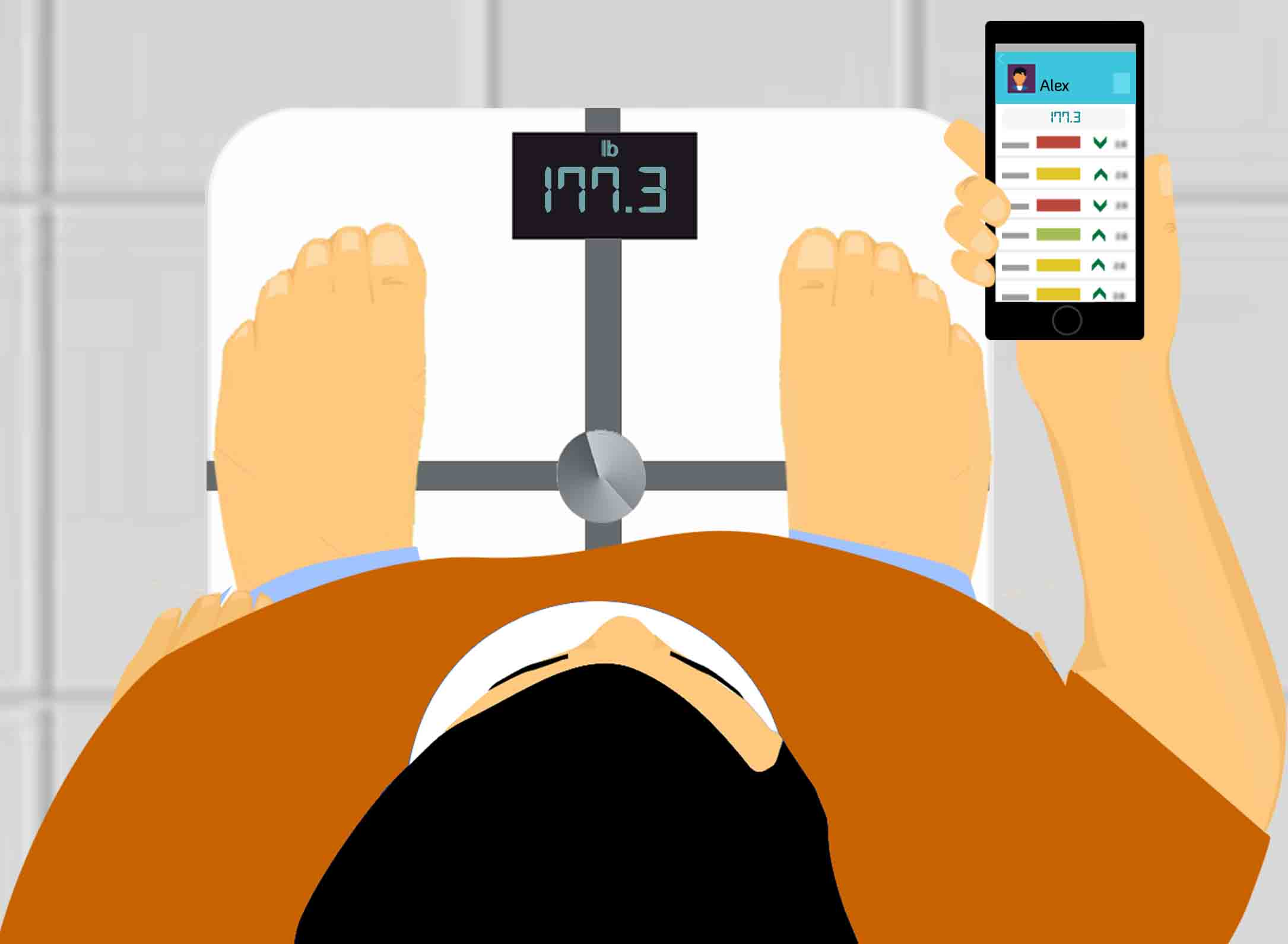 <p><b>A smart weighing scale measures important metrics.</b></p>