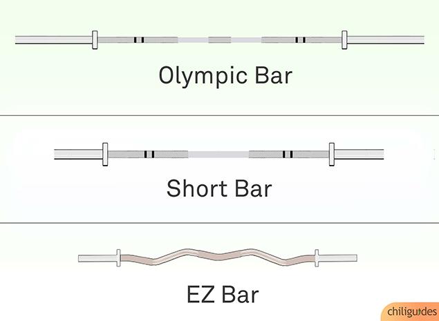 Olympic bar vs. Short Olympic bar vs. EZ bar