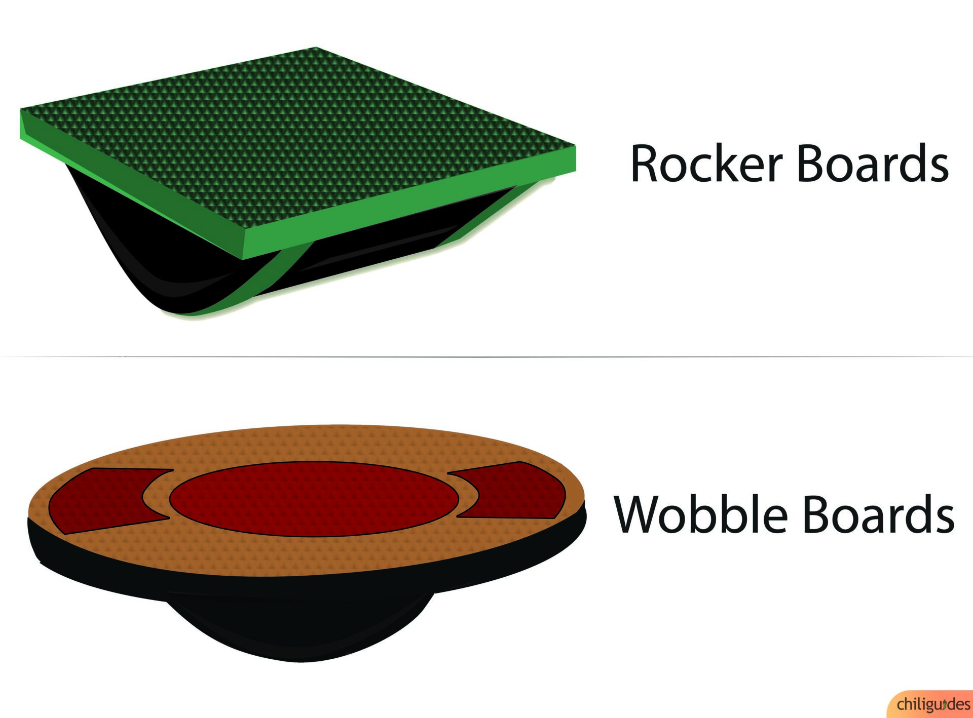 Rocker Boards and Wobble Boards are suitable for exercising.