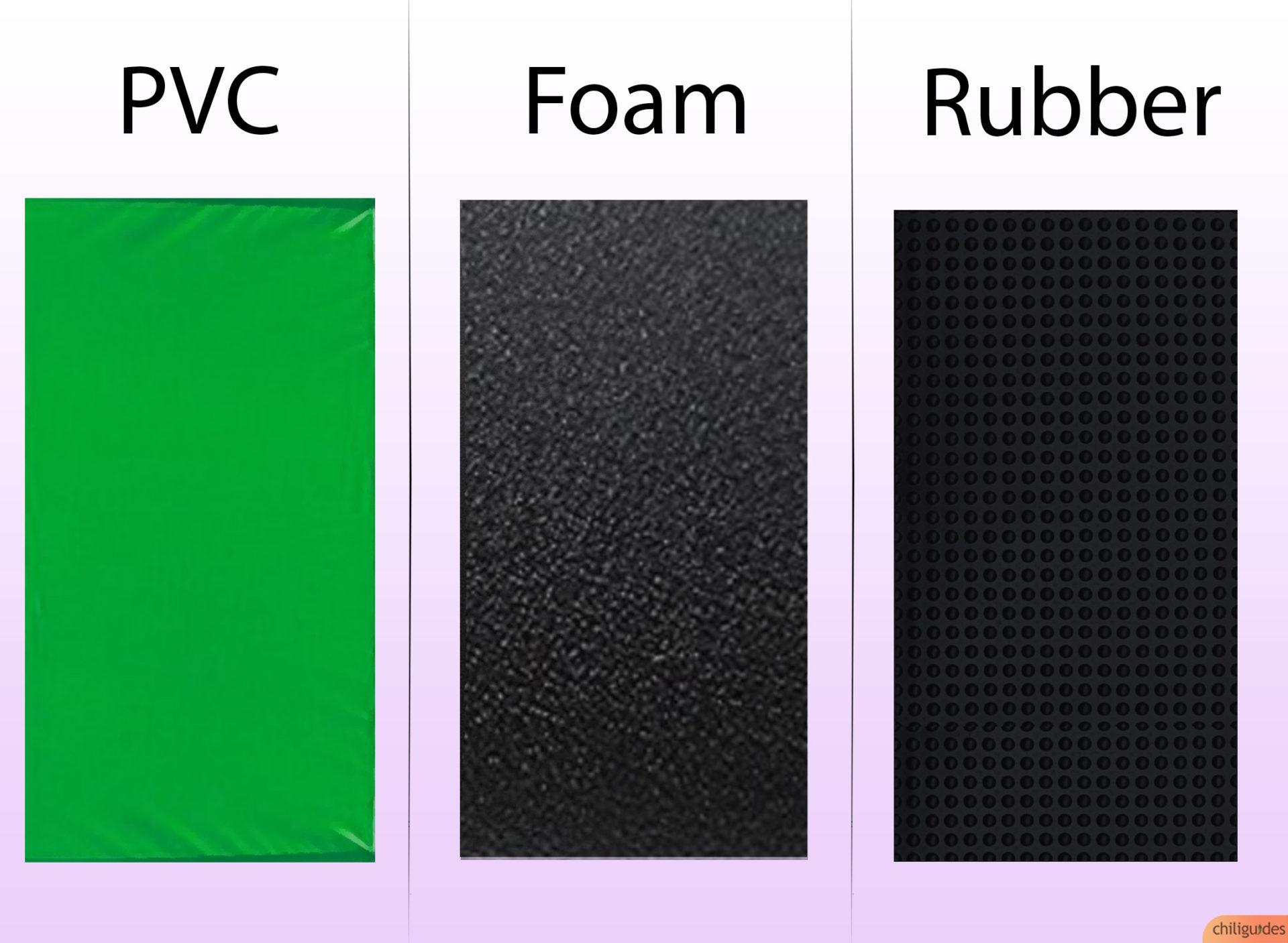 PVC vs. Rubber vs. Foam