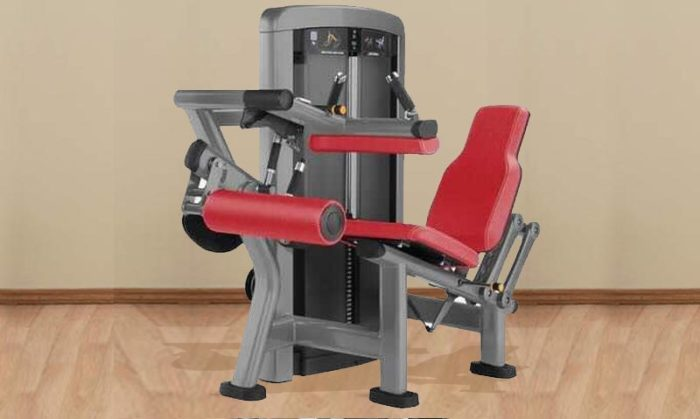 Seated leg curl machine with weight stack