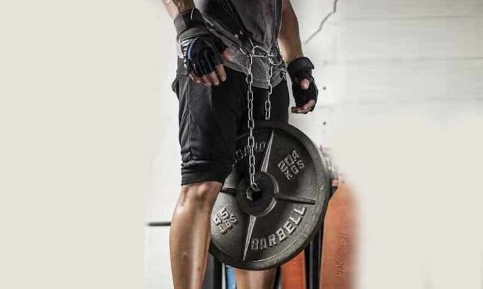 Weighted dip belt with steel chain