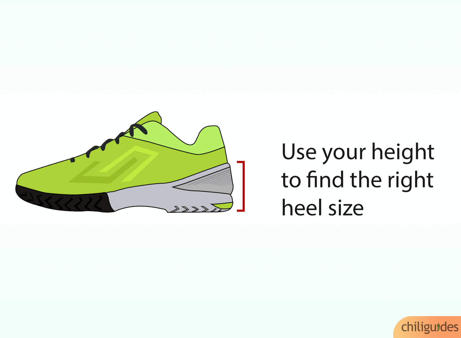 Use your height and flexibility levels to find the right-sized heel.