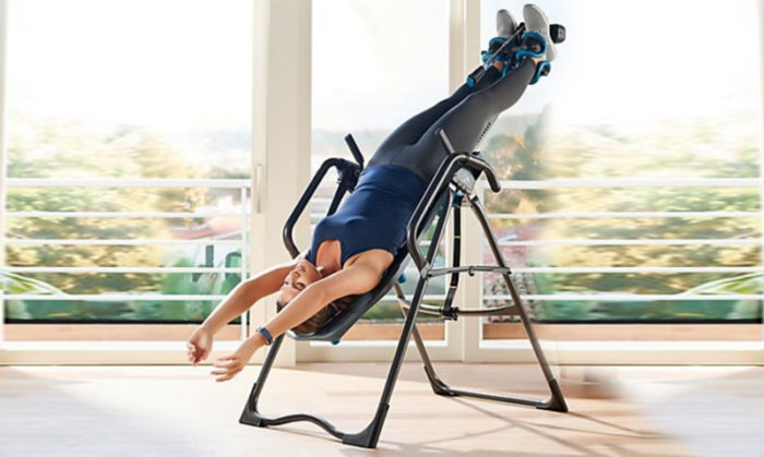 Inversion table hanging exercise for back pain